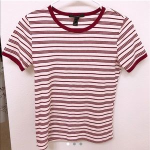 Red & White Striped Ribbed T-Shirt ♥️